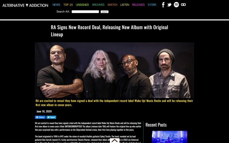 Alternative Addiction features RA's signing